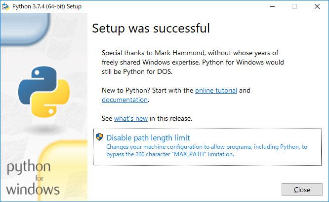 pythonのインストールが完了しました。